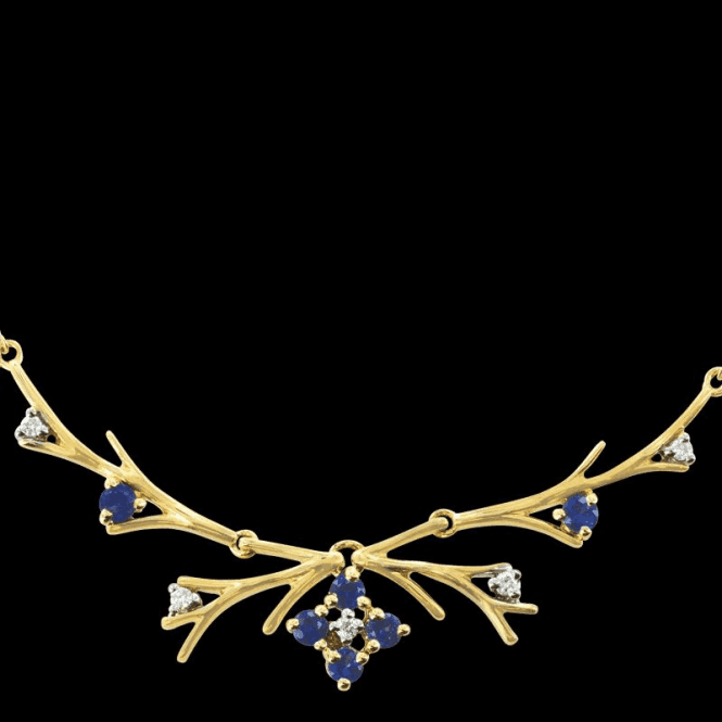 Shipton and Co Ladies Shipton and Co Exclusive 9ct Yellow Gold Blue Sapphire and Diamond Antler Necklace NYD007BSD