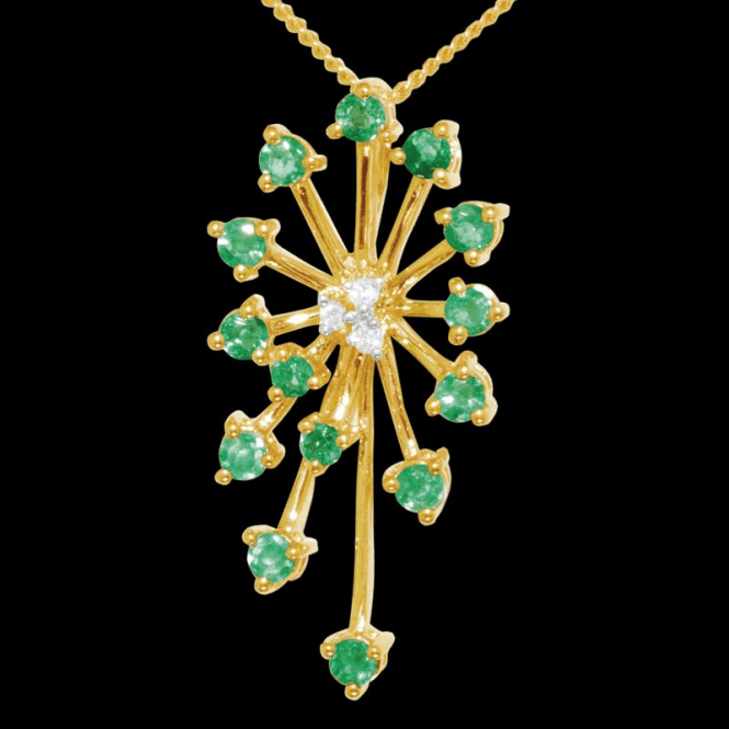 "Shipton and Co Ladies Shipton and Co Exclusive 9ct Yellow Gold Starburst Emerald and Diamond Pendant including a 16"" 9ct Chain  PYD012EMD"