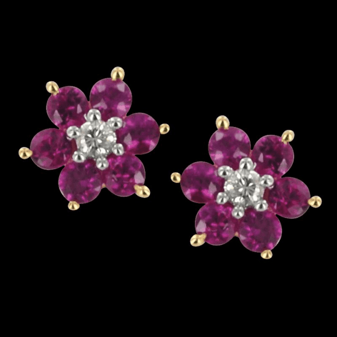 Daisy Cluster Ruby & Diamond Earrings