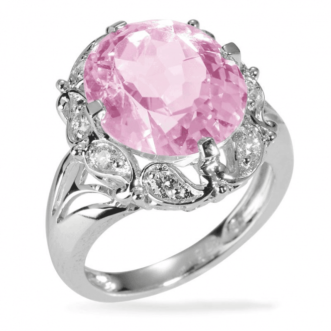 Ladies Shipton and Co Exclusive 9ct White Gold 8ct Kunzite and Diamond Paisley Ring RWD105KZD