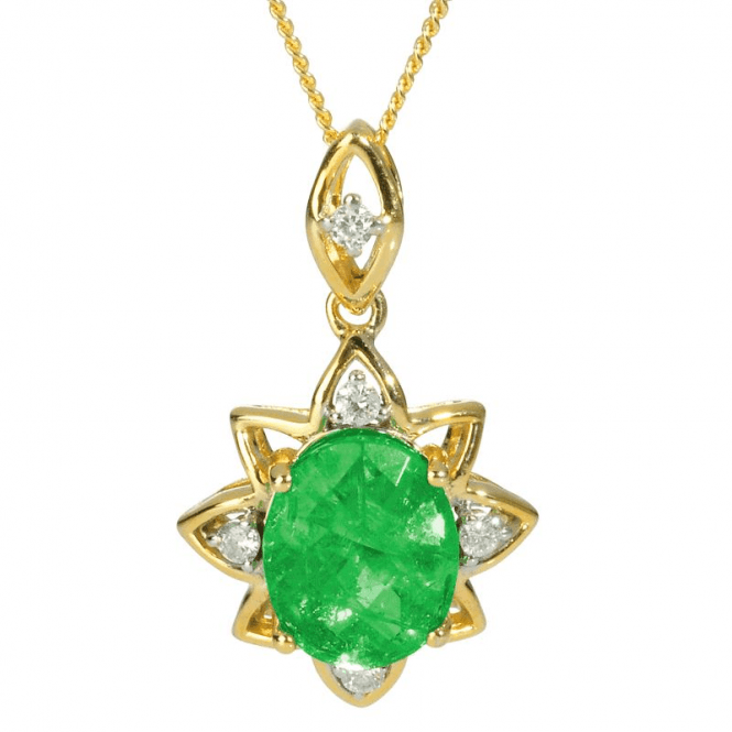 Shipton and Co Ladies Shipton and Co Exclusive 9ct Yellow Gold Diamond and Flourite Pendant including a 16 9ct Chain PYD108FLD