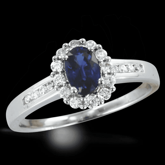 Shipton and Co Sapphire Ring Lit By Twenty Diamonds Totalling a Quarter of a Carat