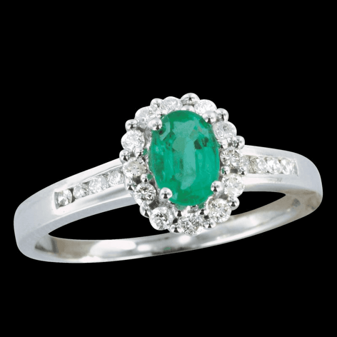 Shipton and Co Ladies Shipton and Co Exclusive 9ct White Gold Quarter Carat Diamond and Emerald Cluster Ring with Diamond Encrusted Shoulders RWD078EMD