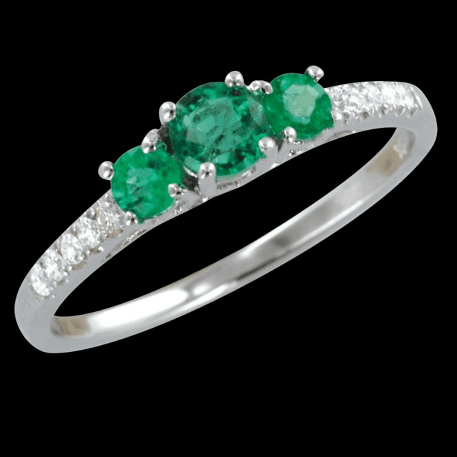 Shipton and Co Ladies Shipton and Co Exclusive 9ct White Gold Emerald Ring with 8pts of Diamond on the Shoulders RWD082EMD