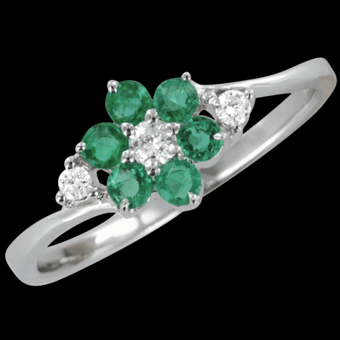 Ladies Shipton and Co Exclusive 9ct White Gold Diamond and Emerald Cluster Ring RWD089EMD