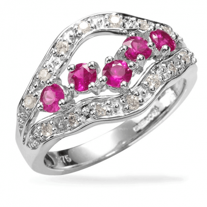 Shipton and Co Ladies Shipton and Co Exclusive 9ct White Gold 20pt Diamond and Ruby 3 row Ring RWD097RUD