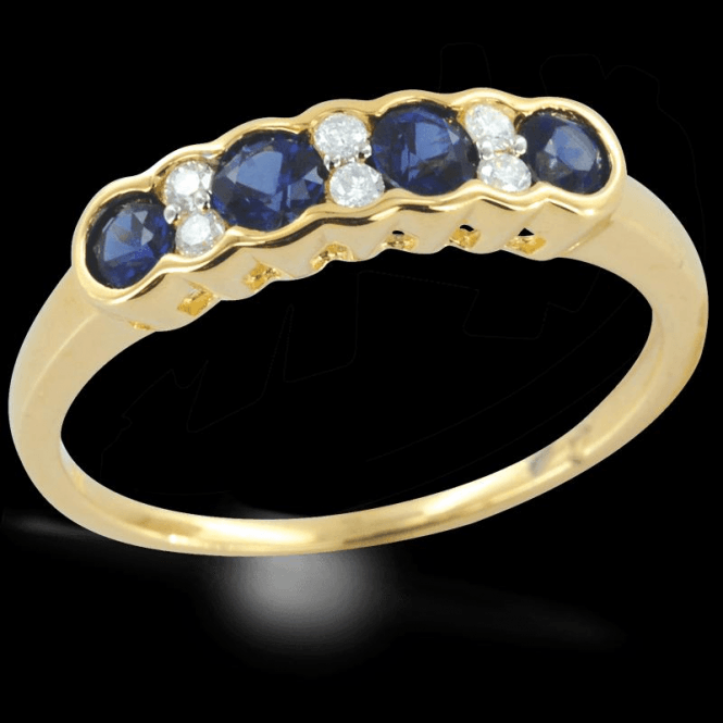 Incomparable Shipton & Co Gemstone Quality Half Eternity Sapphire & Diamond Wave Ring