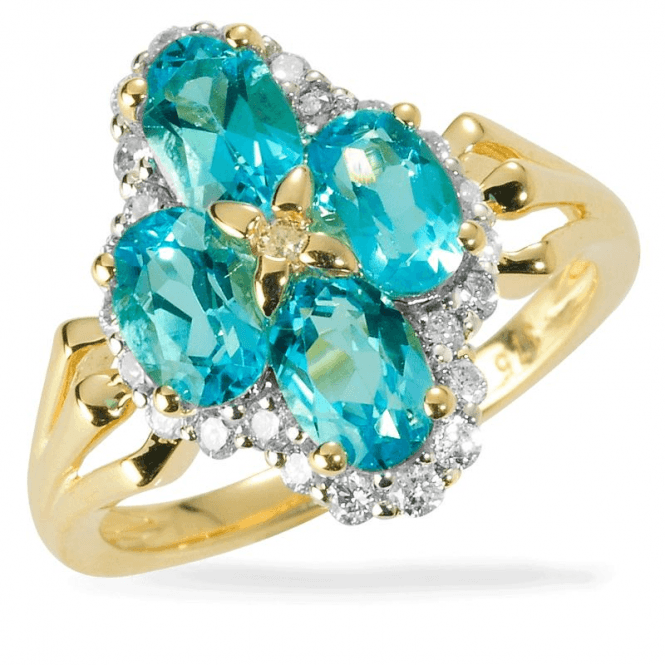 Ceylon Blue Zircon Ring Set with 25 Diamonds
