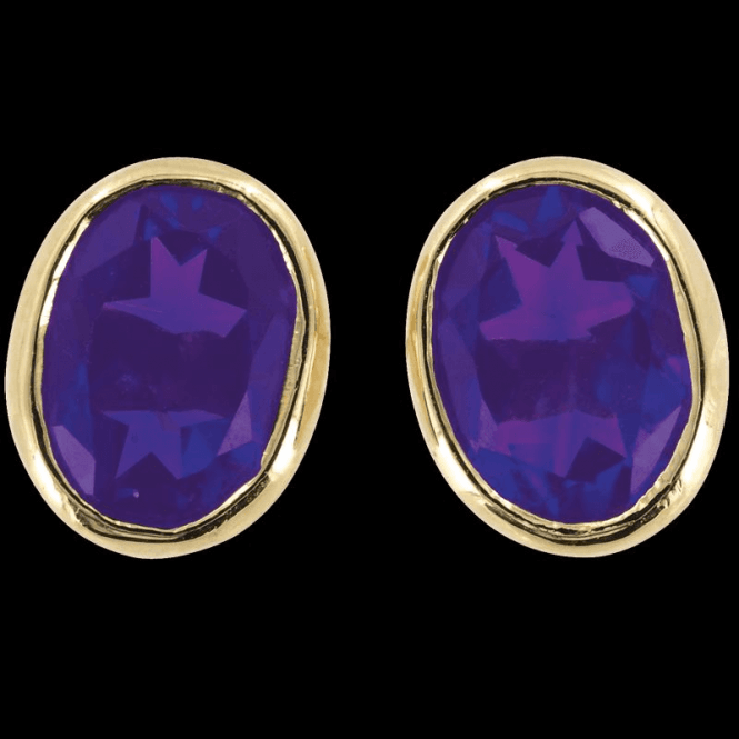 Ladies Shipton and Co Exclusive 9ct Yellow Gold and Amethyst Earrings EY1172AM
