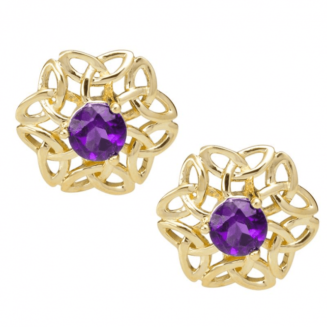 Ladies Shipton and Co Exclusive 9ct Yellow Gold and Amethyst Earrings EYG034AM