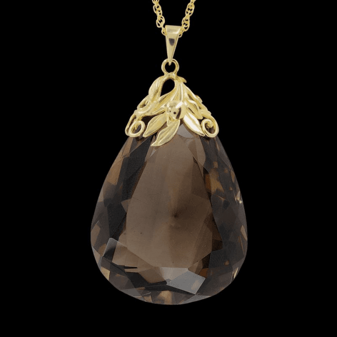 Ladies Shipton and Co Exclusive 9ct Yellow Gold and Smokey Quartz Pendant including a 16 9ct Chain PY1567SQ