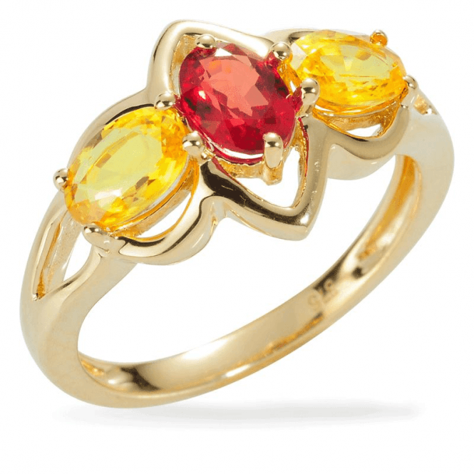 Shipton and Co Ladies Shipton and Co Exclusive 9ct Yellow Gold and Red Sapphire Ring RYG040RSYS