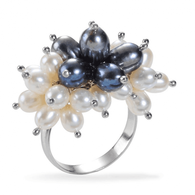 Shipton and Co Ladies Shipton and Co  Silver Balck and White Freshwater Pearls  Ring TEN006FP