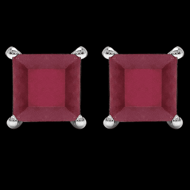 Shipton and Co Ladies Shipton and Co Silver and Flame Red Square Ruby Earrings TJZ001RU