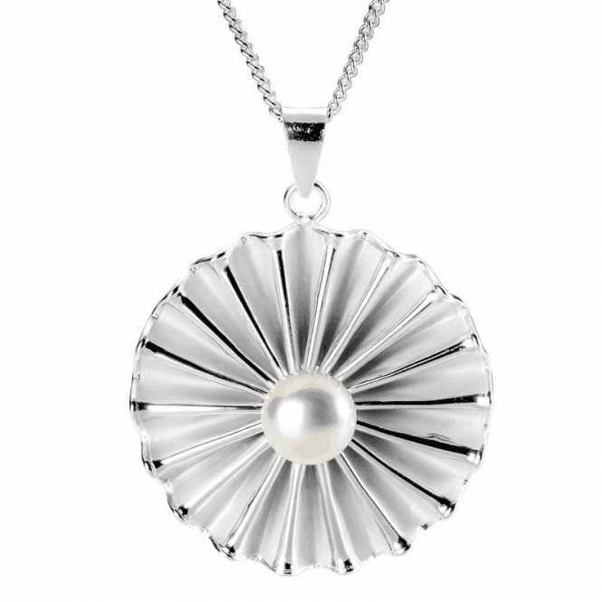 Ladies Shipton and Co Silver and Daisy Ruff Satin Brushed Freshwater Pearl Pendant including a 16 Silver Chain TSB002FP