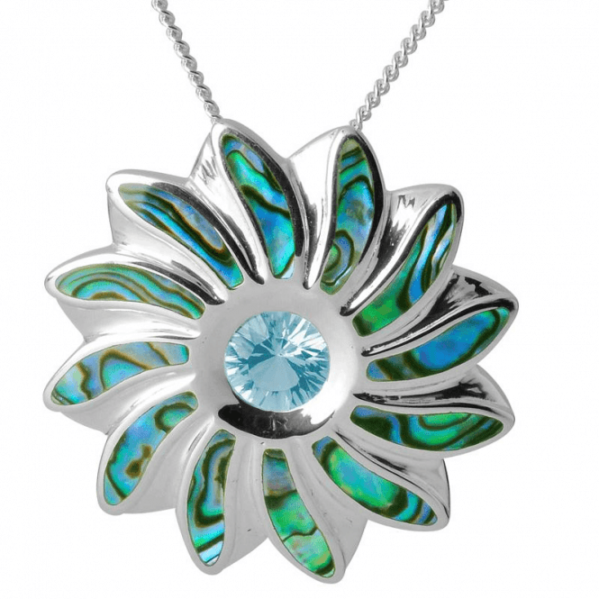 Shipton and Co Ladies Shipton and Co Silver and Paua Shell and Blue Topaz Flower Pendant including a 16 Silver Chain TKW486PABT