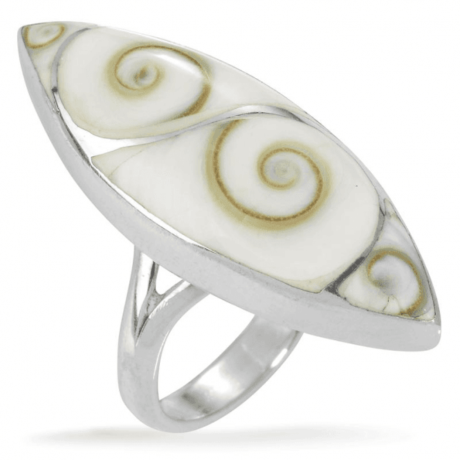 Ladies Shipton and Co Silver and Mother of Pearl Shiwa Shell 4 Sections Marquise Shaped Ring TSS117PM