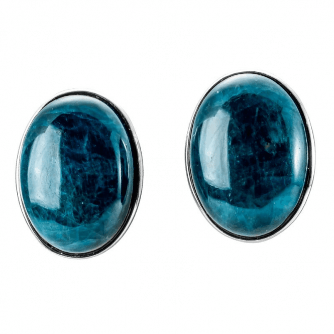 Apatite Cabochons Clip Earrings