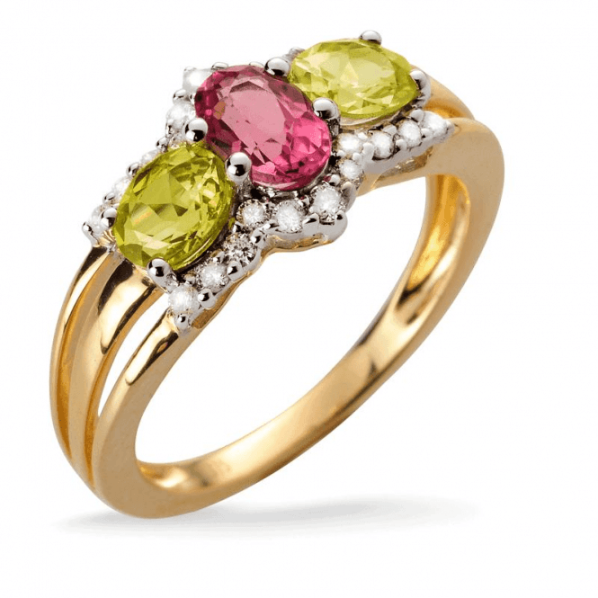 Ladies Shipton and Co Exclusive 9ct Yellow Gold and Pink Tourmaline and Chrysoberyl and 0.18cts Diamond Ring RYD106RTCY