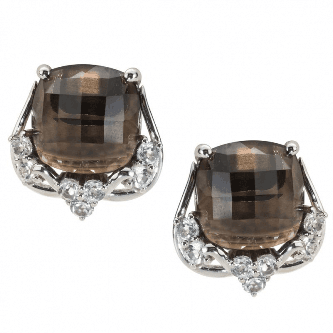 Ladies Shipton and Co Silver and Faceted Cushion Smokey Quartz with White Topaz Clip Fitting Earring for Unpierced Ears EQA333SQWT