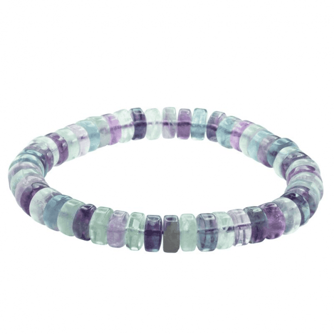 Ladies Shipton and Co Silver and 8mm Disc Multi Coloured Flourite Beads Expanding Bracelet BFE001FL