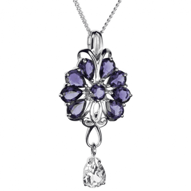 Ladies Shipton and Co Exclusive Silver and Pearshaped Iolite and White Topaz Fan Design Pendant including a 16 Silver Chain PQA347IOWT