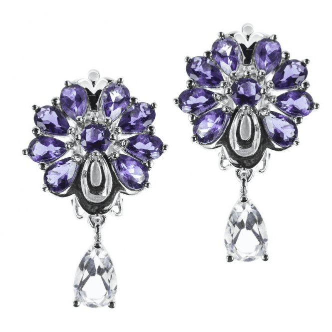 Ladies Shipton and Co Exclusive Silver and Pearshaped Iolite and White Topaz Fan Design Clip Fitting Earrings for Unpierced Ears EQA347IOWT=C