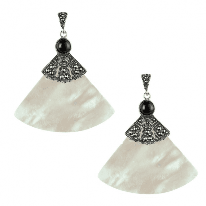 Ladies Shipton and Co Silver and Mother of Pearl Fan with Marcasite Drop Earrings TSV006PM