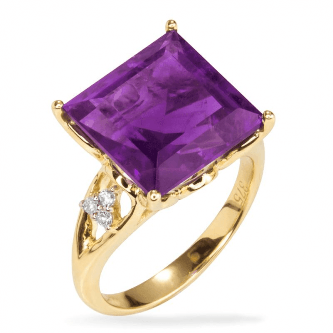 Shipton and Co Ladies Shipton and Co Exclusive 9ct Yellow Gold and 12mm Square Amethyst and 0.06cts Diamonds Ring RYD111AMD