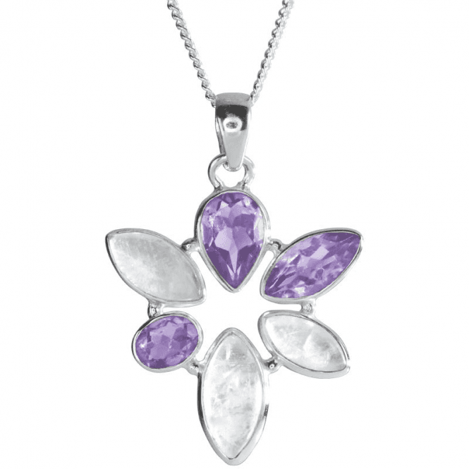 Shipton and Co Ladies Shipton and Co Silver and Moonstone and Amethyst Pendant including a 16 Silver Chain TMO005MSAM