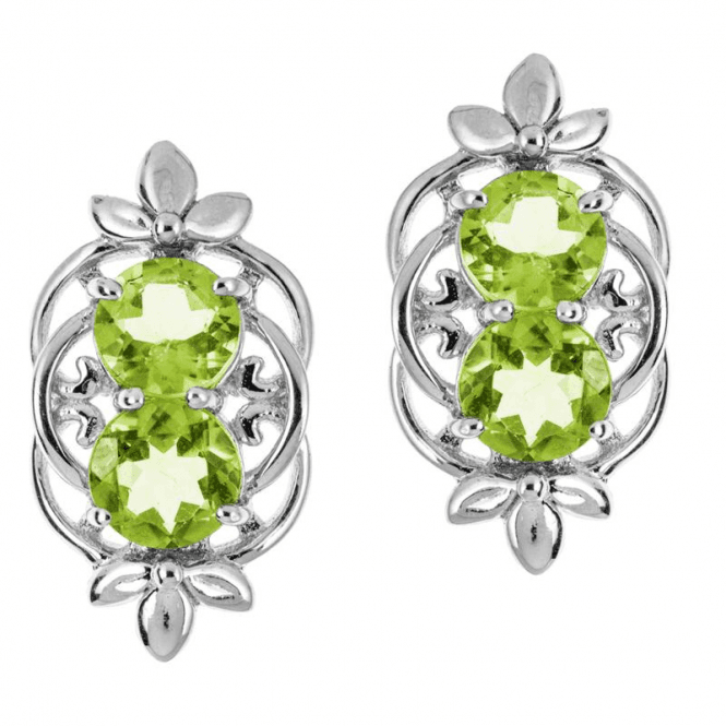 Shipton and Co Ladies Shipton and Co  Silver and Two 8mm Round Peridot Stud Earrings EQA340PE