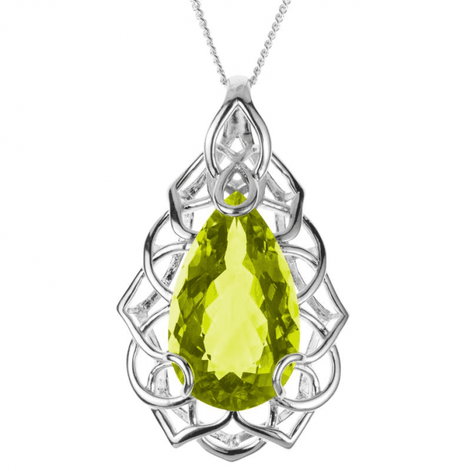 30ct Green Quartz in a Raised Crown Pendant