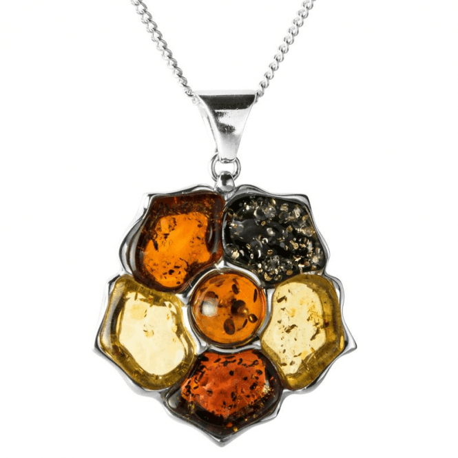 Ladies Shipton and Co Silver and Multi Colour Amber Rose Design Pendant including a 16 Silver Chain TSS137AB