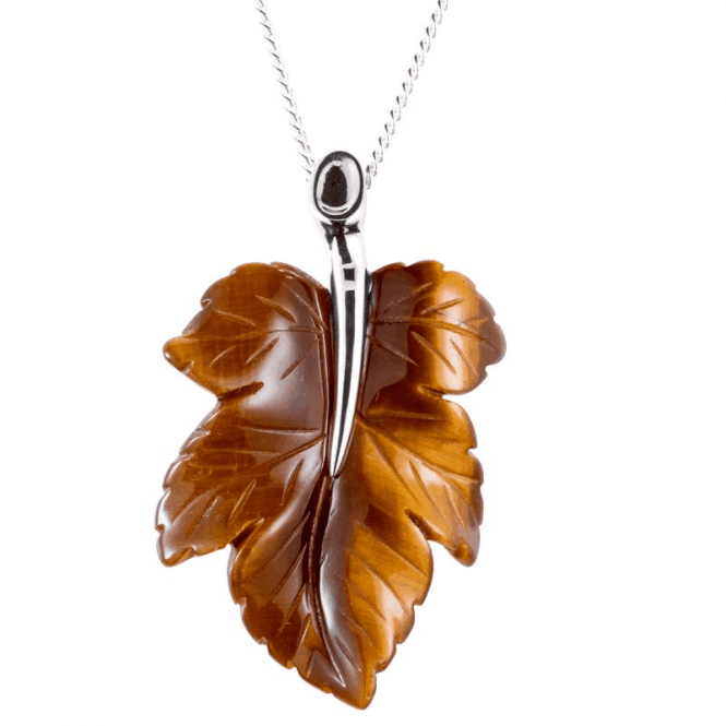 Shipton and Co Hand Carved Tiger's Eye Leaf Pendant
