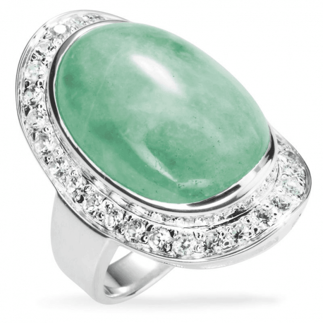 Shipton and Co Hollywood Ring of Jade and White Topaz