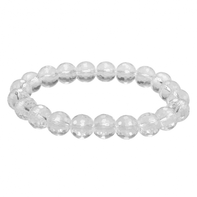 Easy-Fitting Bracelet of Sparkling Faceted Quartz