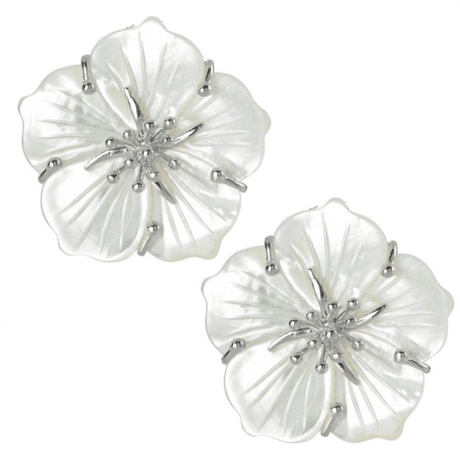 Shipton and Co Ladies Shipton and Co Silver and Carved Mother of Pearl Flower Clip Fitting Earrings for Unpierced Ears TTL240PM