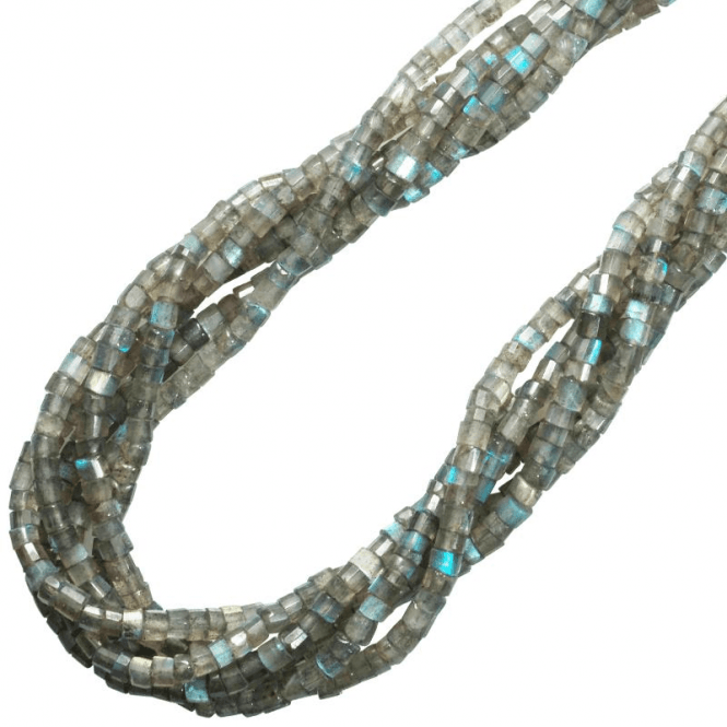 Ladies Shipton and Co Exclusive Silver and Six Strands of Faceted Labradorite Tubes Beads 28 Inches Long BSS069LB