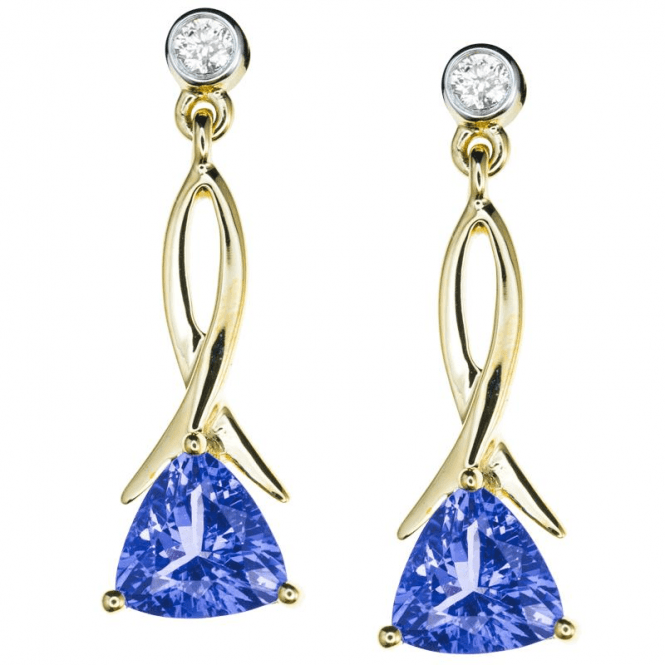Shipton and Co Ladies Shipton and Co  9ct Yellow Gold and 6mm Trilliant Tanzanite and 0.07cts Diamond Drop Earrings   EYD112TZD