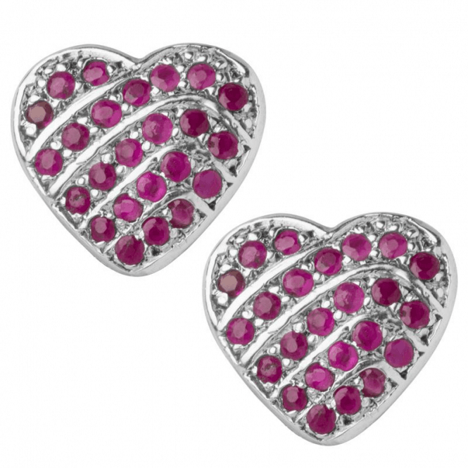 Ladies Shipton and Co Silver and Ruby Lines in Heartshape Clip Fitting Earrings for Unpierced Ears EQA352RU=C
