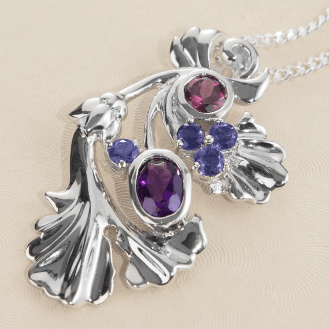 """Shipton and Co Ladies Shipton and Co Exclusive Silver Amethyst and Rhodolite Garnet and Iolite Gingko Pendant including a 16"""" Silver Chain  PQA346MU5"""