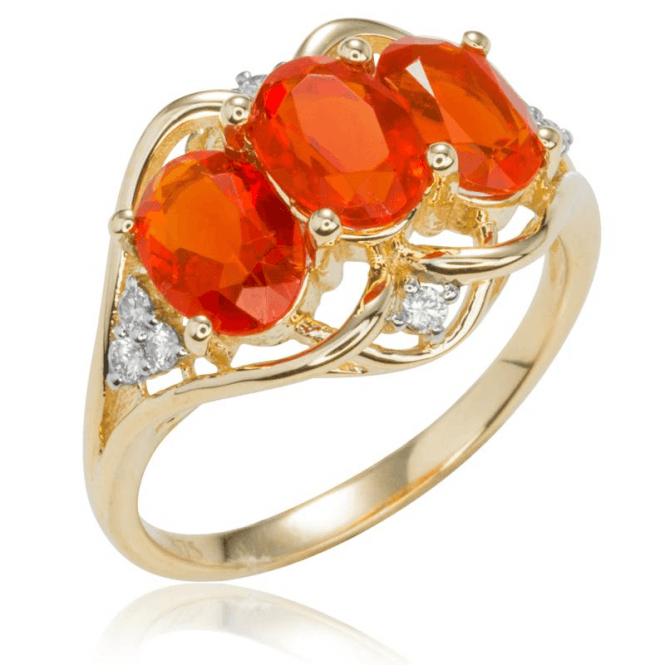 Ladies Shipton and Co Exclusive 9ct Yellow Gold and Three 7x5mm Oval Fire Opal and 0.12cts Diamonds Ring RYD114FOD
