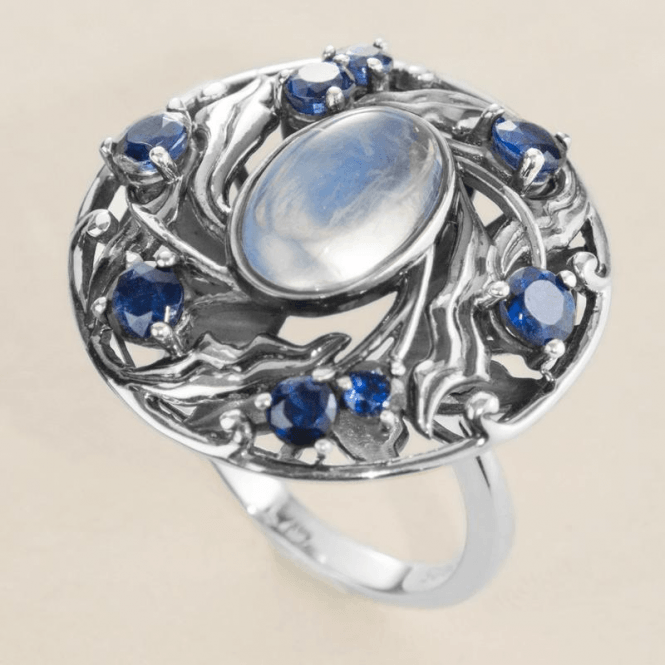 Shipton and Co Ladies Shipton and Co Silver 12x8mm Oval Moonstone and Kyanite Arts and Crafts Ring RQA364MSKY