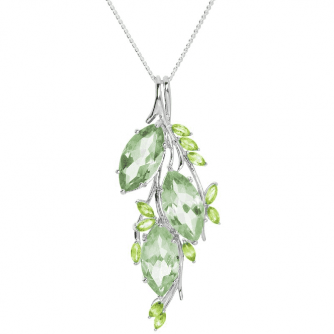 Ladies Shipton and Co Exclusive Silver Three Marquise Green Amethyst and 11 Marquise Peridot Pendant including a 16 Silver Chain PQA376GMPE