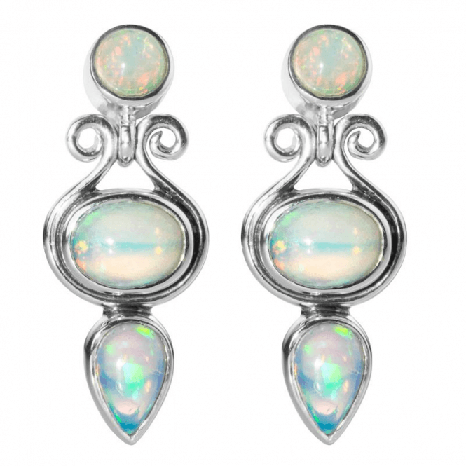Earrings in Iridescent Abyssinian Opal