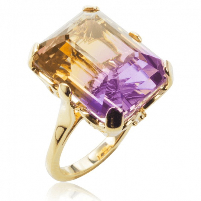 Ladies Shipton and Co Exclusive 9ct Yellow Gold and Octagonal Ametrine and 0.06cts Diamonds Ring RYD116ATD