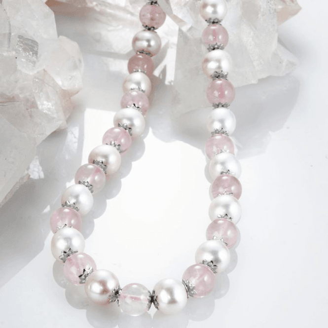Shipton and Co Ladies Shipton and Co Silver and 10mm Rose Quartz and White Freshwater Pearls Beads 19 Inches Long TEN019RQFP