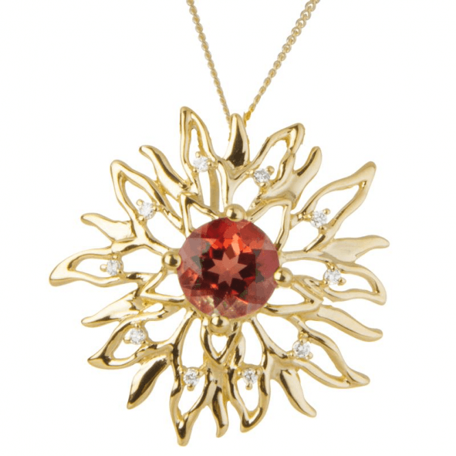 Ladies Shipton and Co 9ct Yellow Gold and Round Andesine and 0.05cts Diamonds Sun Flare Pendant including a 16 9ct Chain PYD119AED