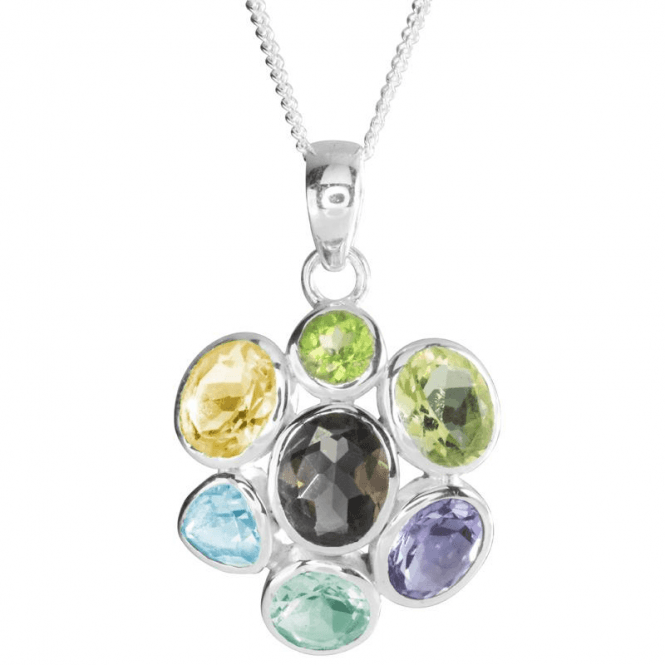 Ladies Shipton and Co Silver Amethyst Green Amethyst and Peridot Flush Set Pendant including a 16 Silver Chain TMO004MU