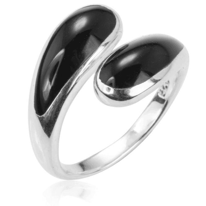 Ladies Shipton and Co Silver and Onyx Crossover Ring TDA079ON